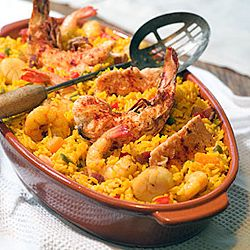 Cuban Arroz con Mariscos - Rice with Seafood - Note:  Bijol Powder, aka Achiote Powder is used to color the dish.  It won't taste the same, but can substitute equal parts turmeric and paprika.