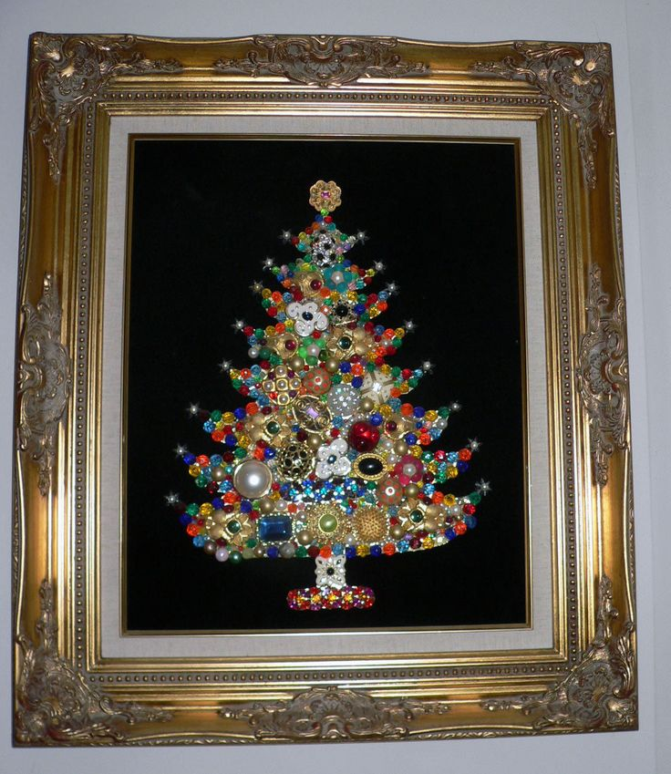 Christmas framed wall decor : Huge vintage jewelry baroque museum framed