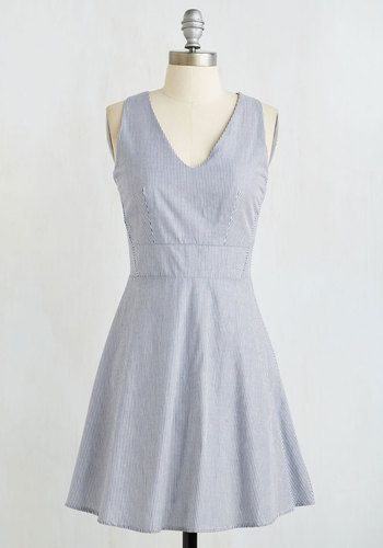 Penchant for Picnics Dress - Mid-length, Woven, Blue, White, Stripes, Print, Casual, Sundress, Americana, A-line, Sleeveless, Summer, Better