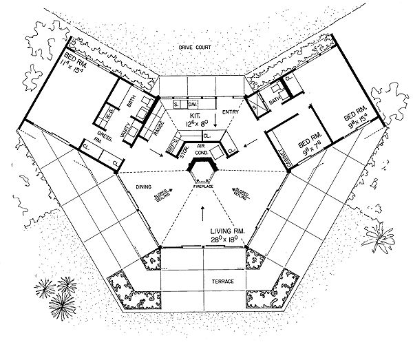 Hexagon house plan a home pinterest hexagons unique for Cool house floor plans