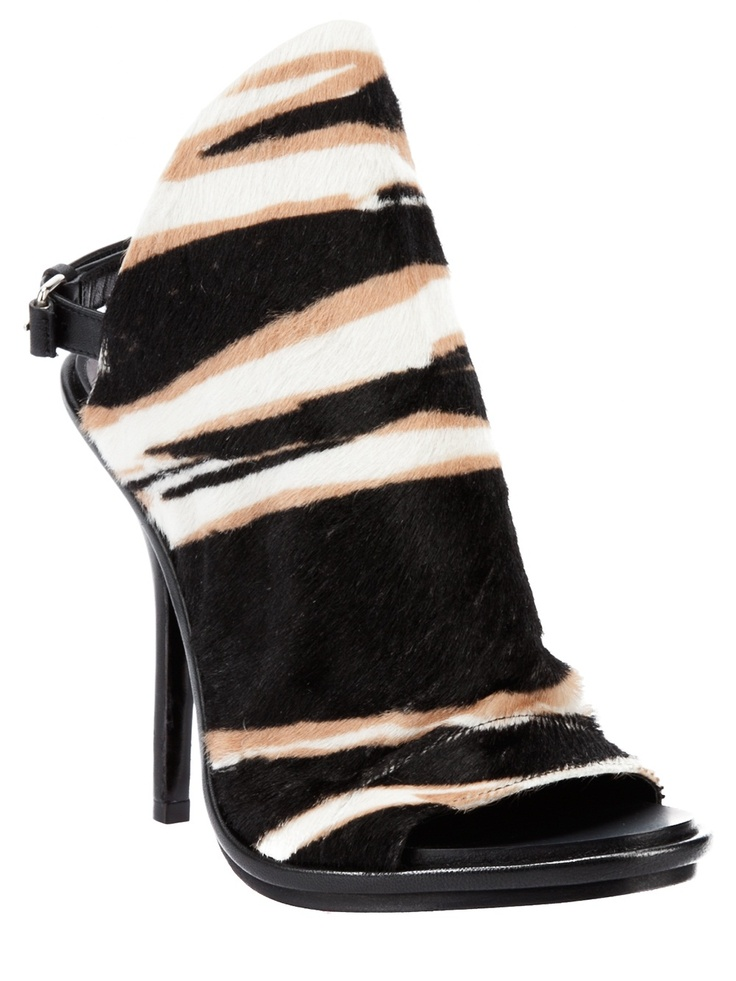 Balenciaga zebra print pony hair sandal