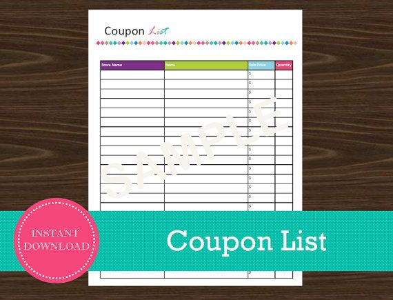Coupon List  Shopping Planner  INSTANT PDF by RoadTripBlogger