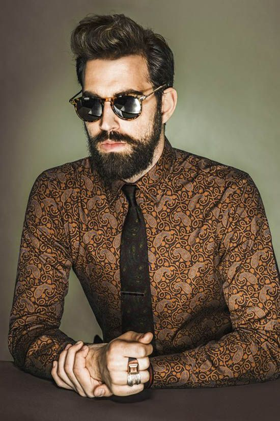 Men's Hair | Slight Pompadour and a Thick Beard make one handsome man [via: http://www.soletopia.com/2013/04/paisley-shirt-x-beard/]