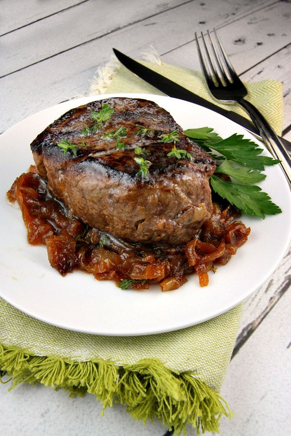 Filet Mignon with Marsala Caramelized Onions - recipe at RecipeGirl.com : perfect for New Year's Eve!