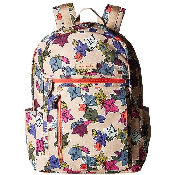Vera Bradley Small Backpack (Falling Flowers Neutral) Backpack Bags ($98) ❤ liked on Polyvore featuring bags, backpacks, pocket backpack, zipper bag, lightweight rucksack, lightweight backpack and zip bag