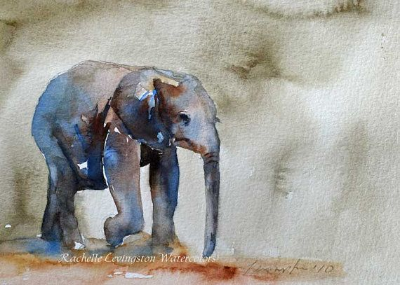 Watercolor Painting Elephant Painting Nursery By