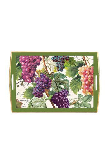 Our Grape decoupage trays; generous enough to take at least 8 glasses.