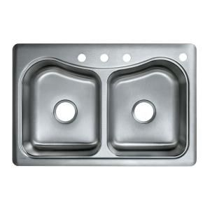 KOHLER Staccato Self-Rimming Stainless Steel 33x22x8.31 4-Hole Kitchen Sink-K-3369-4-NA at The Home Depot