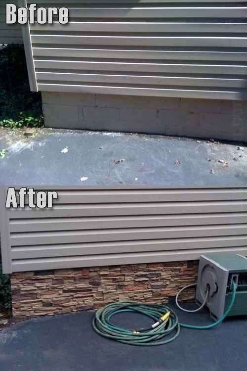 Apply stone or tile to the siding of the foundation of your home.