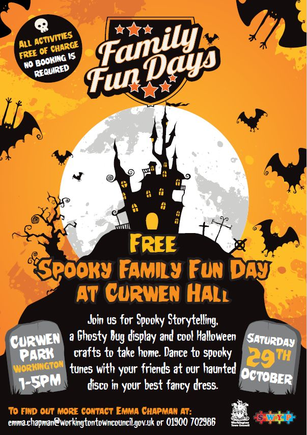 FREE Spooky Fun Day at Curwen Hall http://www.cumbriacrack.com/wp-content/uploads/2016/10/halloween-fun-workington.png Join us for a day of spooky fun at a FREE family fun day in Curwen Park, Workington on Saturday 29th October from 1-5pm.    http://www.cumbriacrack.com/2016/10/10/free-spooky-fun-day-curwen-hall/