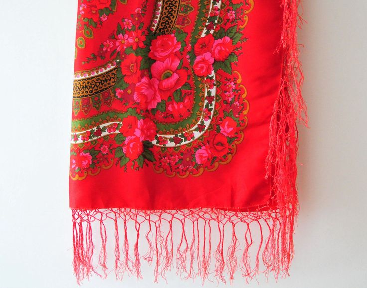 Vintage Russian Rose Shawl, Russian Red Pink Rose Fringe Shawl, Russian Folk Art Shawl by ColoursAndSoul on Etsy