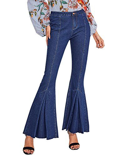 3871dec0a1b358 MakeMeChic Womens Denim Flare Pants Raw Hem Bell Bottom Jeans Trousers Blue  M * Amazon most trusted e-retailer #WinterBoots