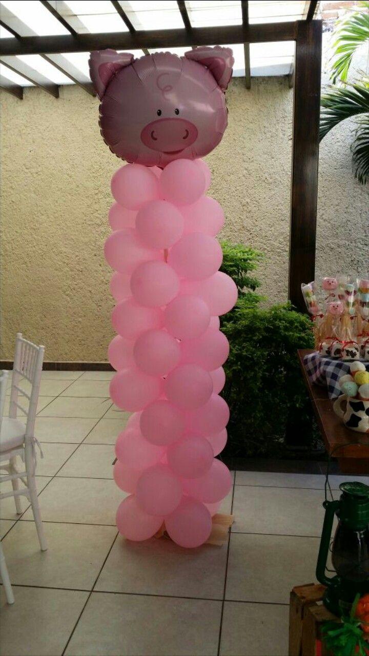 Fiesta temativa, decoracion con globos, cerdo