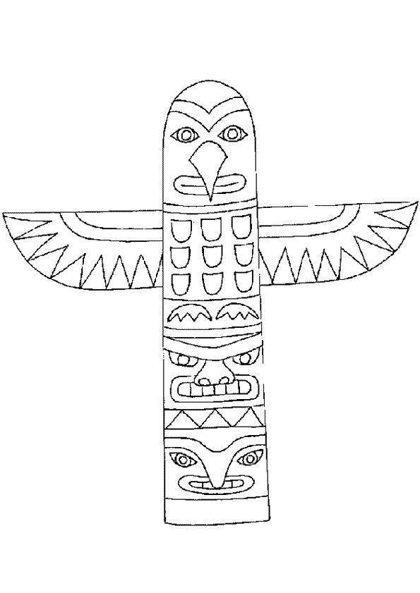 dessin  u00e0 colorier d u0026 39 un totem indien en forme d u0026 39 aigle