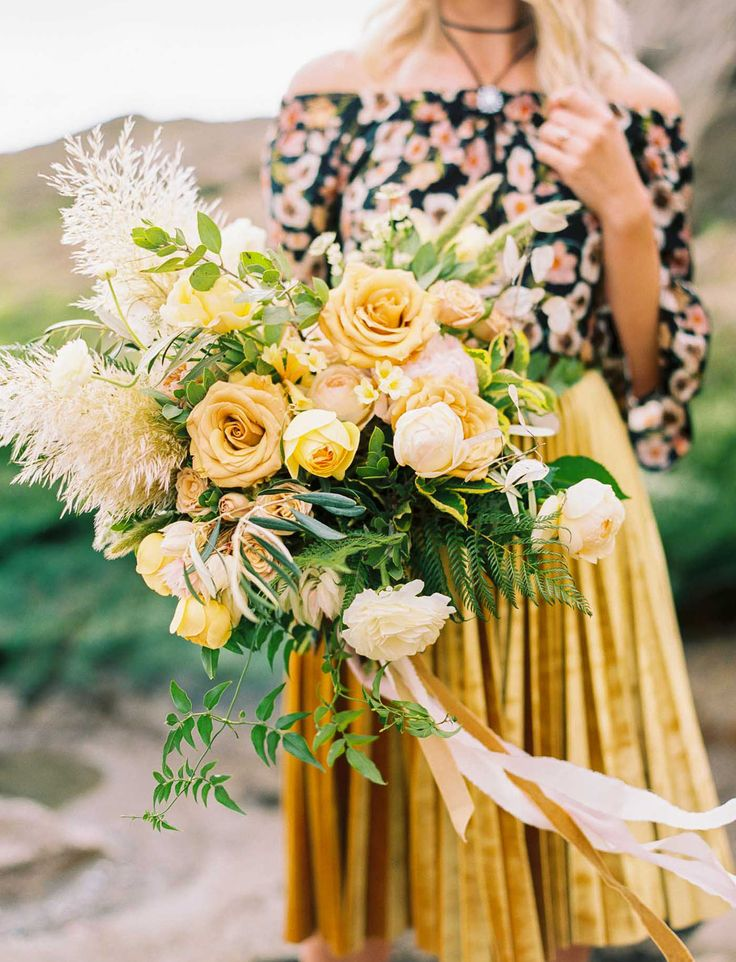 Stylish Marin Headlands Engagement // gold yellow bouquet for the modern boho bride