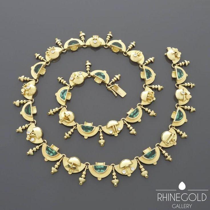 1920s-1930s Ernst Treusch Art Deco Tourmaline Diamond Gold Robot Necklace For Sale at 1stdibs