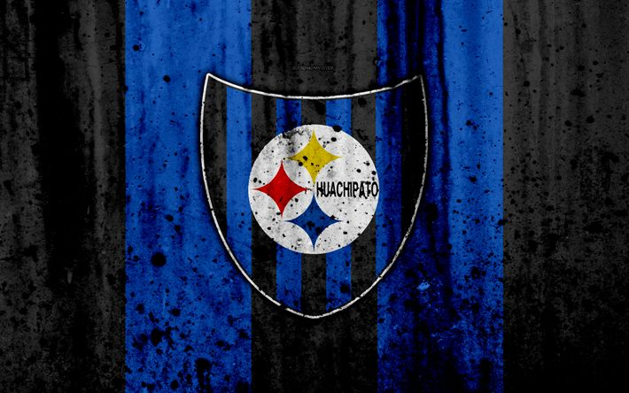 Download wallpapers 4k, FC Huachipato, art, grunge, Chilean Primera Division, soccer, football club, Chile, Huachipato, logo, stone texture, Huachipato FC
