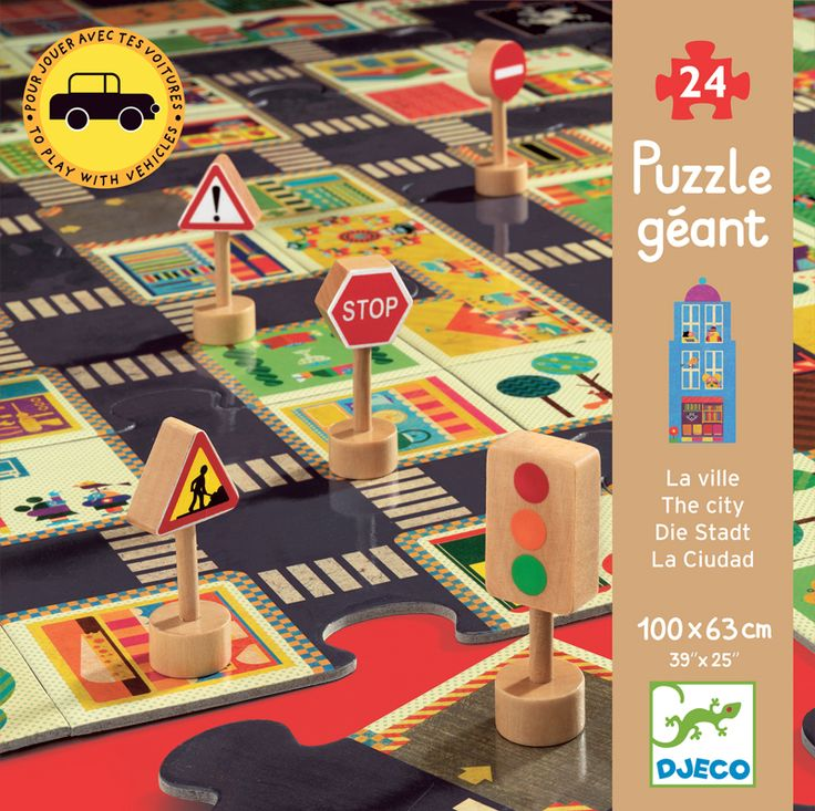 Puzzle Gigant Djeco - Ulica ze znakami drogowymi