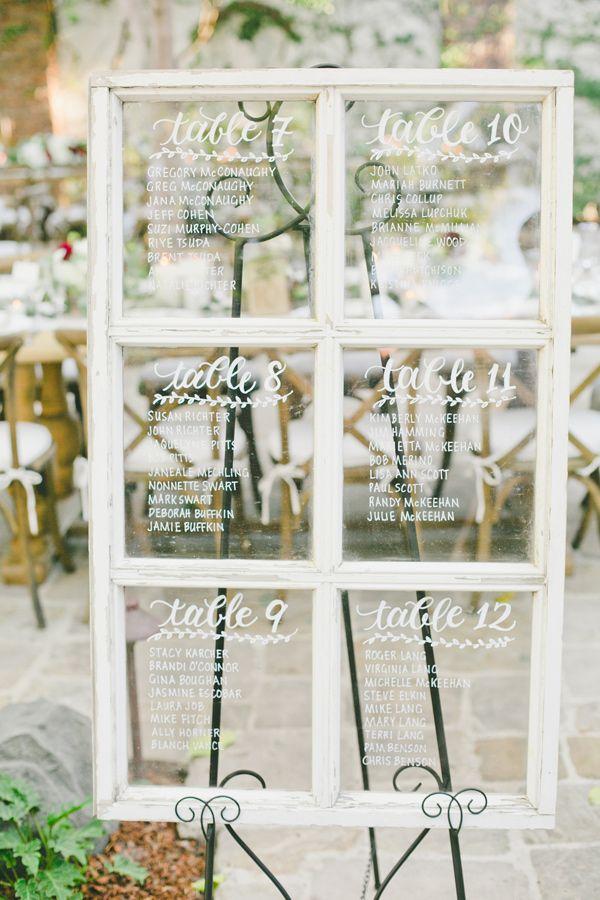 window seating chart - photo by Onelove Photography http://ruffledblog.com/romantic-old-souls-wedding