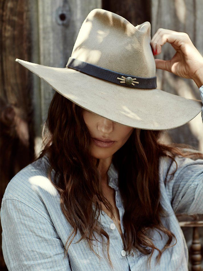 Free People Midnight Rider Exclusive Hat - American handmade wool felt hat with a wide brim. Features a leather band and feather accent. Tres chic... cowgirl chic!