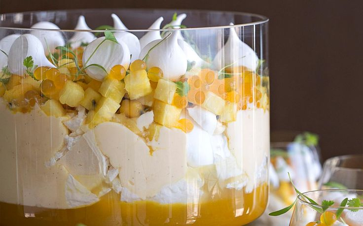 Summer trifle with tropical fruits recipe - By FOOD TO LOVE, This deliciously fresh and creamy summer trifle is the ultimate dessert for any occasion! Anna Polyviou from The Shangri-La Hotel shares her recipe from The Great Australian Cookbook.