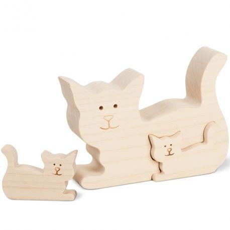 Objet décoratif en bois naturel Chat en bois avec deux chatons, 8,5 cm