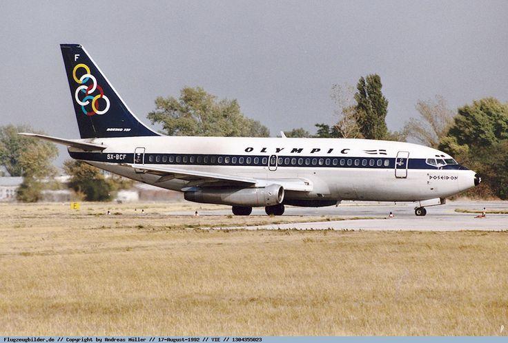 Olympic Airways Boeing 737-284 Adv.(Poseidon - Ποσειδώνας) [SX-BCF] at Vienna airport in 1992