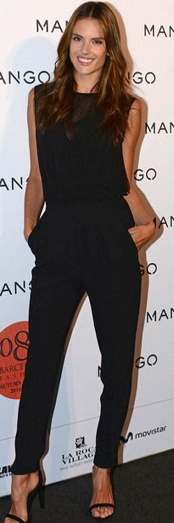 Who made  Alessandra Ambrosio's black mesh jumpsuit?