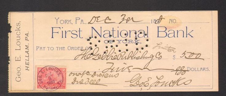 1898 Receipt First National Bank York PA with 2 cents Documentary Stamp