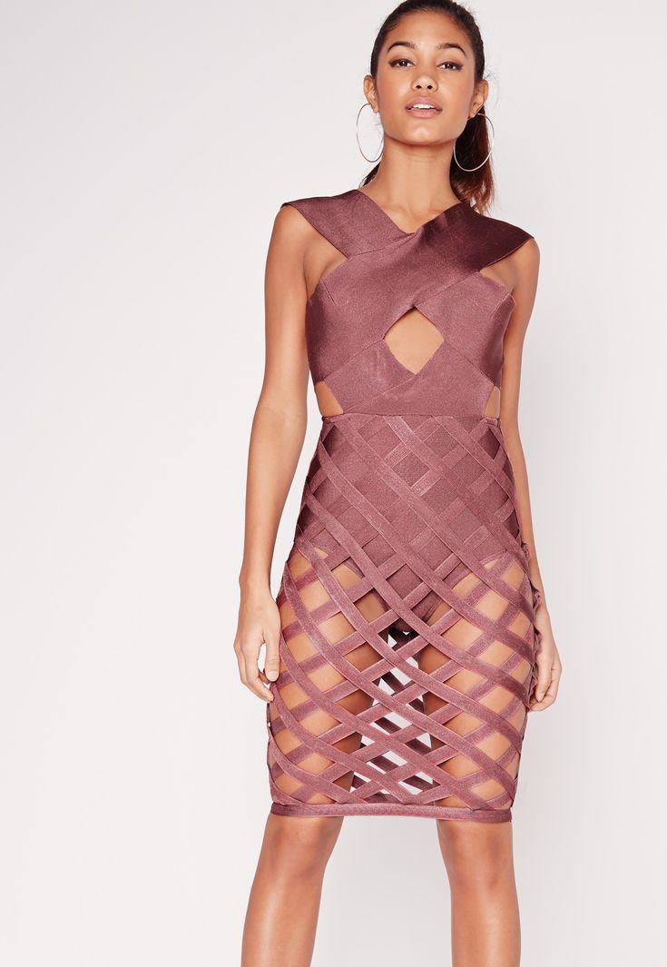 Missguided - Premium Bandage Criss Cross Skirt Bodycon Dress Purple