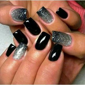 Gray, Black and White Nails