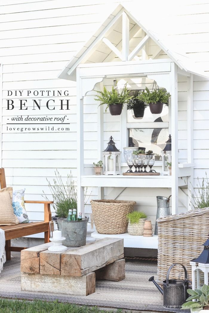 DIY Potting Bench with Decorative Roof | This stunning potting bench is full of vintage charm, perfect for a deck or patio, and super versatile!