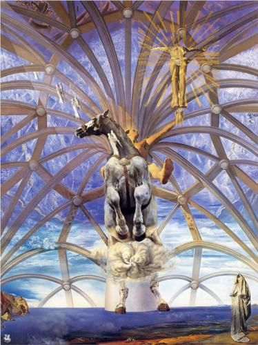 """Santiago El Grande"" by Salvador Dali. 1957 large scale oil on canvas. The background was ""borrowed"" from a 1955 photo, for which Dali was sued by the photographer for plagiarism. Dali's wife, Gala, is painted at lower right. The foot of Christ is said to have been modeled on Dali's own foot. From the collection of The Beaverbook Art Gallery, New Brunswick, NB (CA) on loan to The Dali Museum, St Petersburg, FL (2014)"