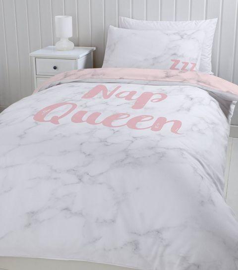 Pink Nap Queen Slogan Double Duvet Set   New Look