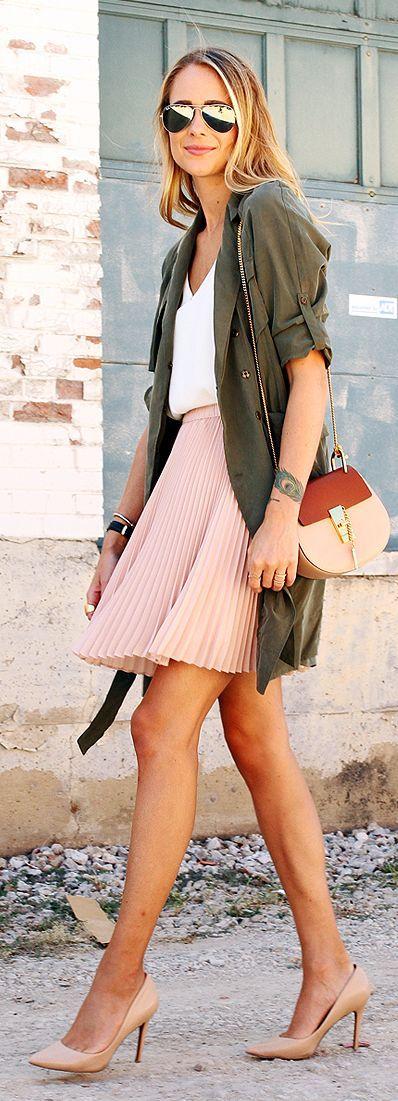 Fashion Jackson Army Green Utility Jacket White V+neck Blouse Blush Pleated Skirt Blush Heels School Fall Inspo