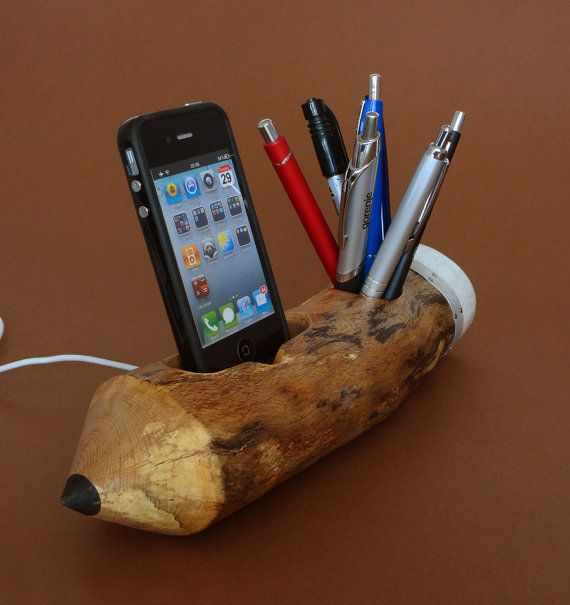 Pen Holder And IPhone Dock   Natural, Rustic Pencil Shape   (geekery,  Unique · Study OfficeDesk ...