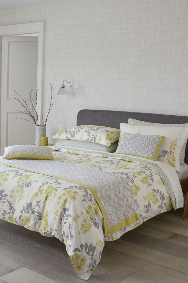 Yellow and gray floral bedding - A Gorgeous Bedding Set From Sanderson Featuring Beautiful Florals And Co Ordinating Fretwork Designs In Lovely