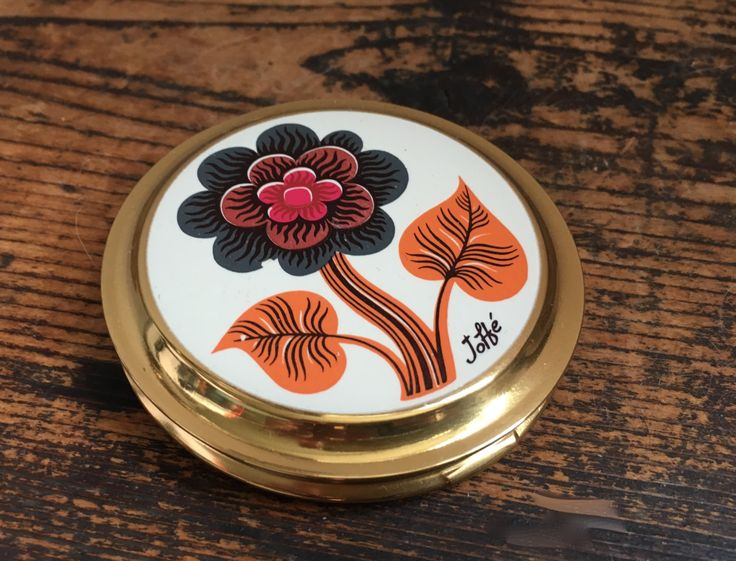 Vintage Compact Case Boots The Chemist Designed by Joffe Unused Floral Retro fun Mirror by ArthursTreasureChest on Etsy