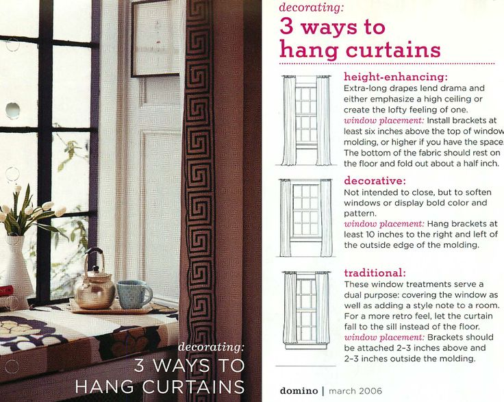 3 ways to hang curtains how to for the home pinterest traditional window treatments and. Black Bedroom Furniture Sets. Home Design Ideas
