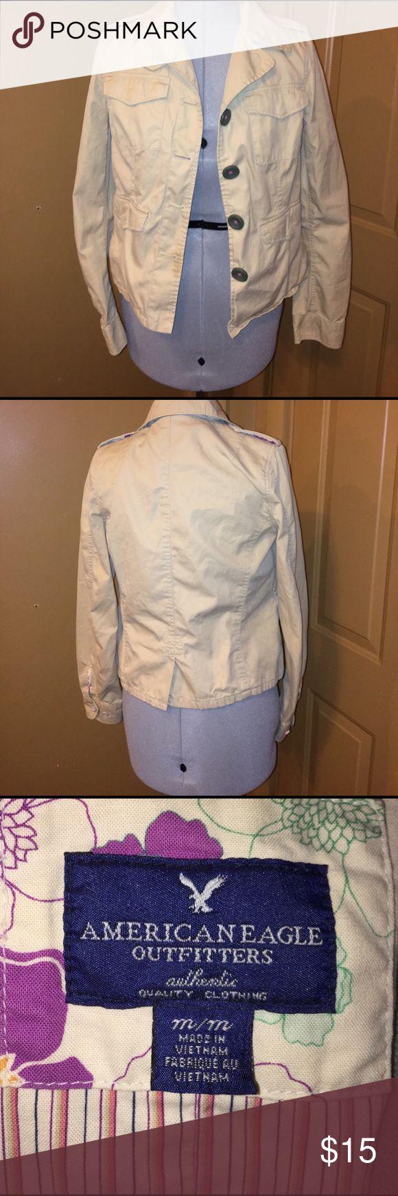 American Eagle jacket size Medium Tan American Eagle Jacket with olive green buttons size Medium. Smoke free home and dog mom. American Eagle Outfitters Jackets & Coats