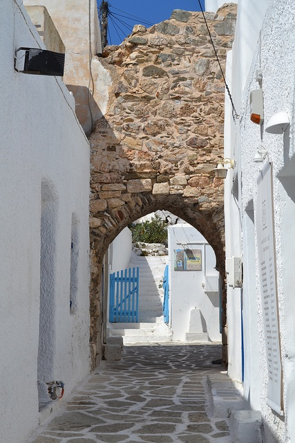 Antiparos. Wall of the old castle by the square