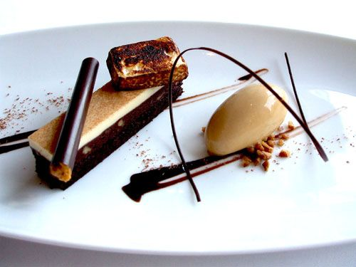 """Per Se NY:  """"Brownie and Malted Milk,"""" Double Chocolate Brownie with Pecan """"Marquise,"""" Caramel Ice Cream and Malted Mousse"""