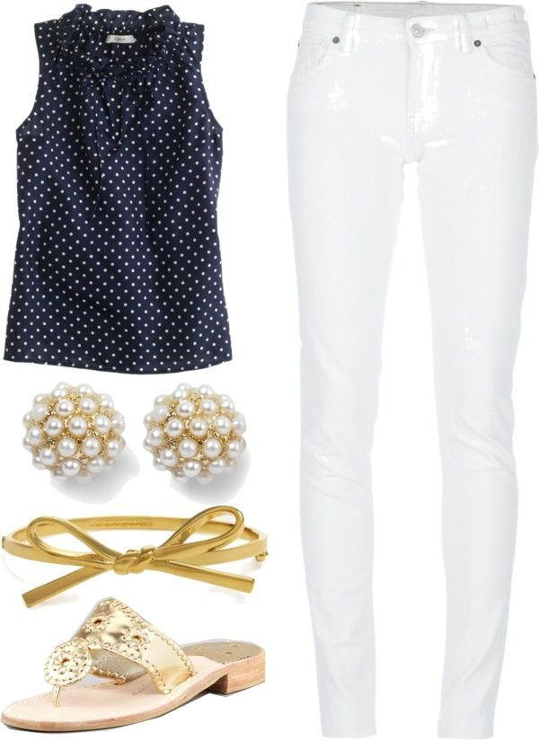 """Preppy Summer Outfit"" by elizabethandre ❤ liked on Polyvore"