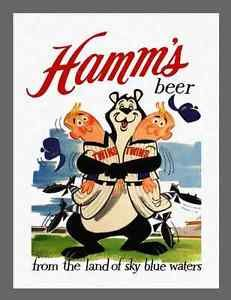 "HAMMS BEER VINTAGE AD w/MINNESOTA TWINS - ON 8.5"" X 11"" CANVAS"