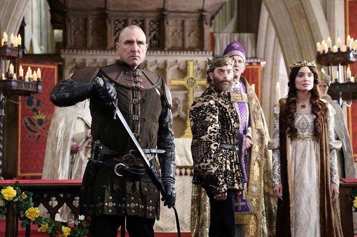Gareth (Vinnie Jones), King Richard (Timothy Omundson), and Madalena (Mallory Jansen) in Galavant