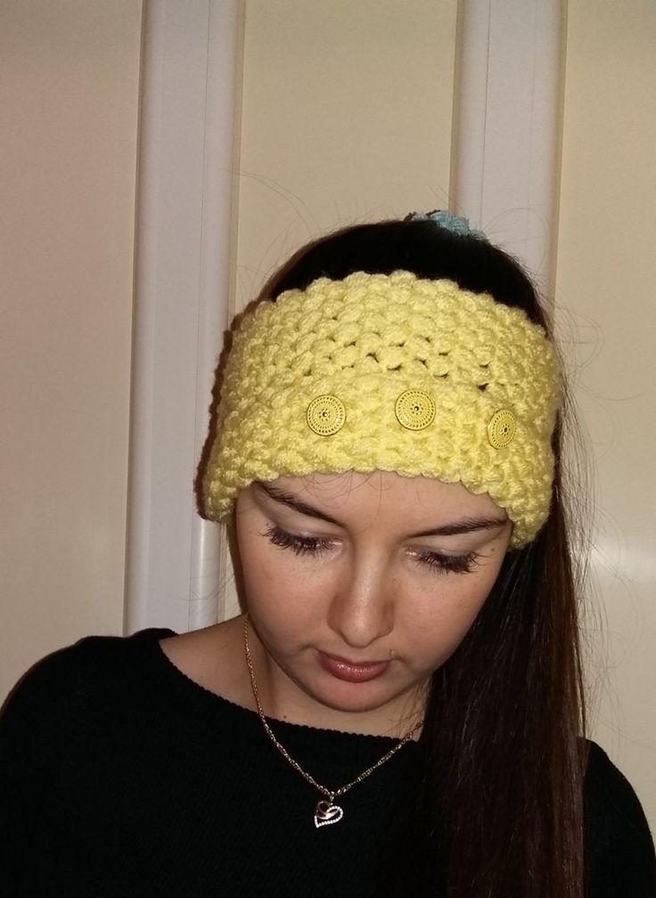 CROCHET HEADBAND light YELLOW ear warmers women's fashion accessories gift for her by MarikaArt on Etsy