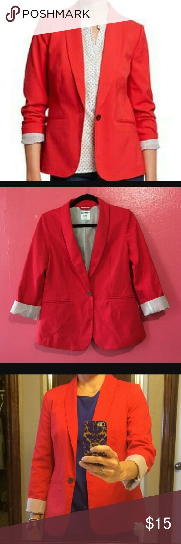 Old Navy Blazer Cherry Red blazer from Old Navy. Excellent overall condition. Purchase to replace my other red blazer but found something else so only worn 2-3 times.  There is a light blue pinstripe on lining, that is extremely cute when cuffed. 66%polyester 32%rayon Old Navy Jackets & Coats Blazers