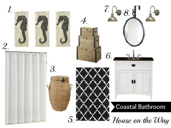 Black & white + neutral coastal-inspired bathroom