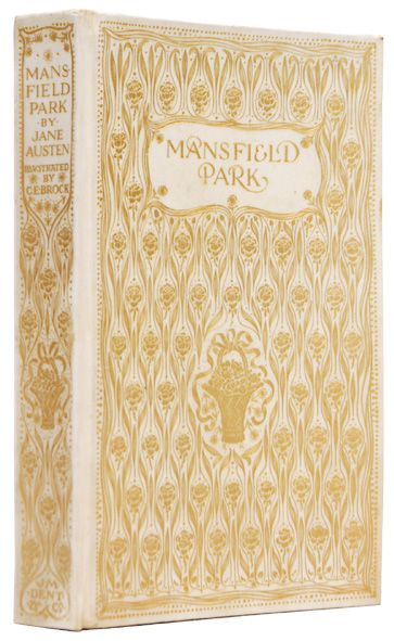 Rare & first editions of Mansfield Park. by (BROCK, C. E.) AUSTEN, Jane. A lovely copy in the deluxe vellum binding with the illustrations signed and dated C.E. Brock 1908.