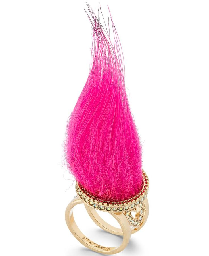 Finish your look with fun flair with this fur ring from Betsey Johnson xox, featuring a vivid tuft of acrylic faux fur atop a gold-tone setting trimmed in glass. Size 7.   DreamWorks Trolls © 2016 Dre